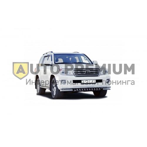 Защита переднего бампера с дополнительной защитой двигателя Труба двойнаяd63,5 для Toyota Land Cruiser 200 (нержавейка)